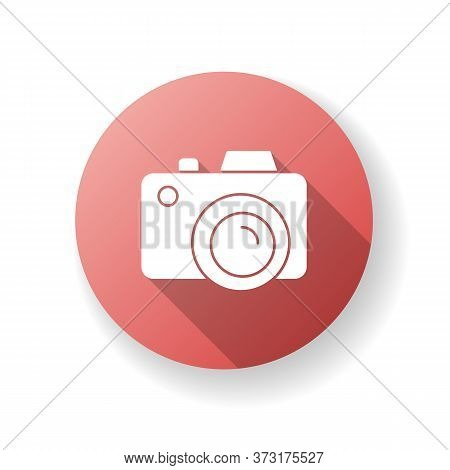 Camera Red Flat Design Long Shadow Glyph Icon. Freelance Photographer. Photography Device. Shoot Sna