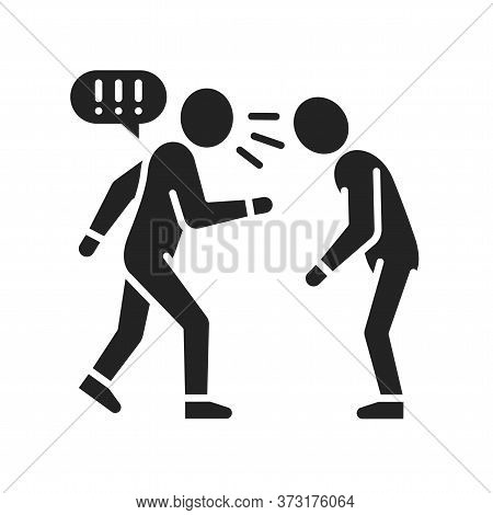Verbal Bullying Black Glyph Icon. Harassment, Social Abuse And Violence. Sign For Web Page, Mobile A