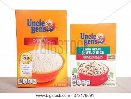Alameda, Ca - June 18, 2020: Boxes Of Uncle Ben's Rice On Wood Table, Isolated.  Uncle Ben's Is A Br