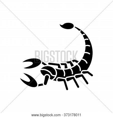 Scorpio Zodiac Sign Black Glyph Icon. Astrological Scorpion Silhouette Symbol On White Space. Danger