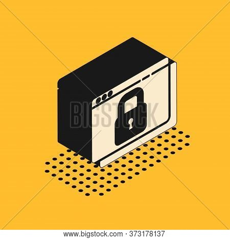 Isometric Secure Your Site With Https, Ssl Icon Isolated On Yellow Background. Internet Communicatio