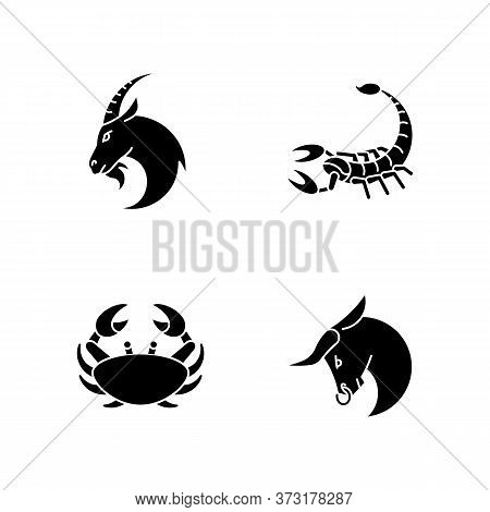 Astrological Signs Black Glyph Icons Set On White Space. Goat, Crab, Scorpion And Bull Zodiac Silhou
