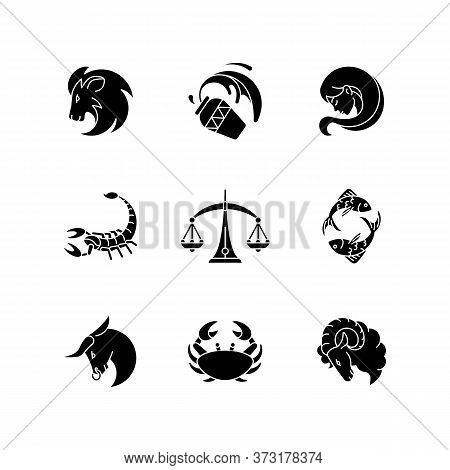 Astrology Signs Black Glyph Icons Set On White Space. Different Zodiac Horoscope Fortune Telling Sil