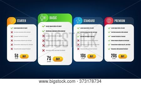 Globe, Wifi And Cogwheel Line Icons Set. Pricing Table, Subscription Plan. Energy Sign. Internet Wor