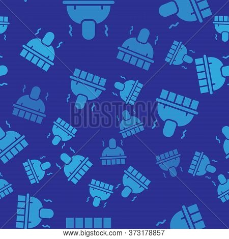 Blue Sauna And Spa Procedures Icon Isolated Seamless Pattern On Blue Background. Relaxation Body Car