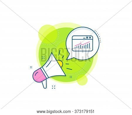 Report Chart Or Sales Growth Sign. Megaphone Promotion Complex Icon. Website Traffic Line Icon. Anal
