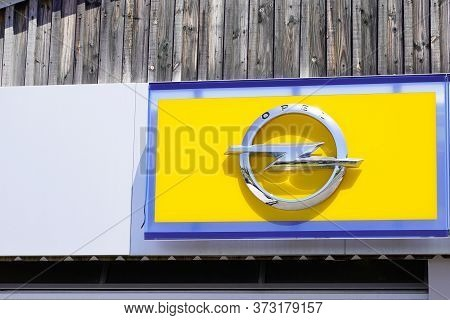 Bordeaux , Aquitaine / France - 06 20 2020 : Opel Car Yellow Logo Sign For German Automobile Manufac