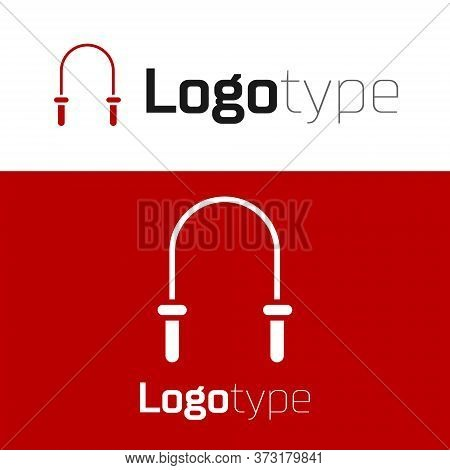 Red Jump Rope Icon Isolated On White Background. Skipping Rope. Sport Equipment. Logo Design Templat