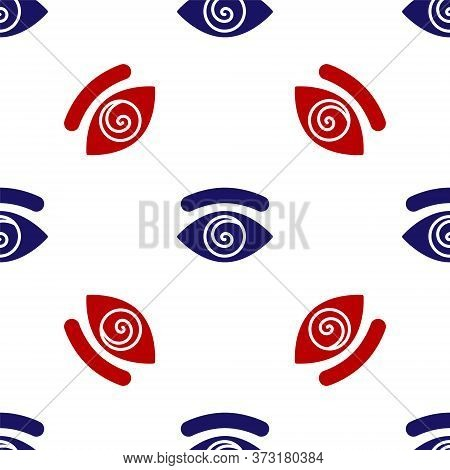 Blue And Red Hypnosis Icon Isolated Seamless Pattern On White Background. Human Eye With Spiral Hypn