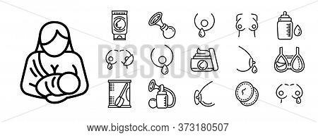 Breastfeeding Icons Set. Outline Set Of Breastfeeding Vector Icons For Web Design Isolated On White