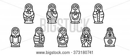 Nesting Doll Icons Set. Outline Set Of Nesting Doll Vector Icons For Web Design Isolated On White Ba