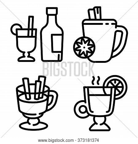 Mulled Wine Icons Set. Outline Set Of Mulled Wine Vector Icons For Web Design Isolated On White Back
