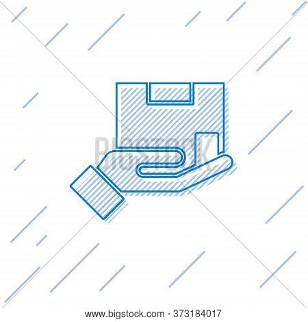 Blue Line Delivery Insurance Icon Isolated On White Background. Insured Cardboard Boxes Beyond The S