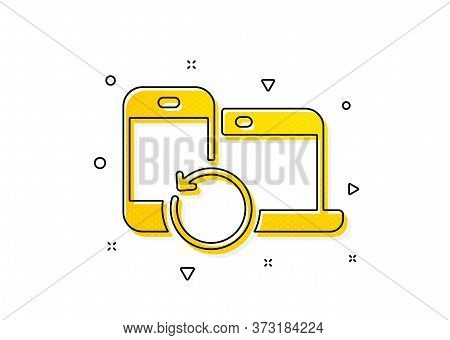Backup Data Sign. Recovery Devices Icon. Restore Information Symbol. Yellow Circles Pattern. Classic