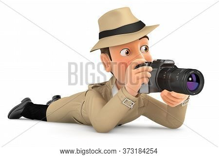 3d Detective Lying Down With Camera, Illustration With Isolated White Background