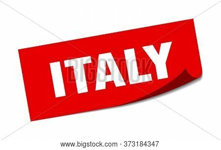 Italy Sticker. Italy Red Square Peeler Sign
