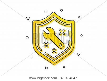 Repair Service Sign. Spanner Tool Icon. Shield Protection Symbol. Yellow Circles Pattern. Classic Sp