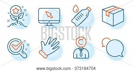 Chemistry Lab, Parcel And Messenger Signs. Hand, Internet And Copyrighter Line Icons Set. Water Bott