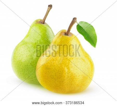 Two Isolated Pears. Yellow And Green Pear Fruits Isolated On White Background