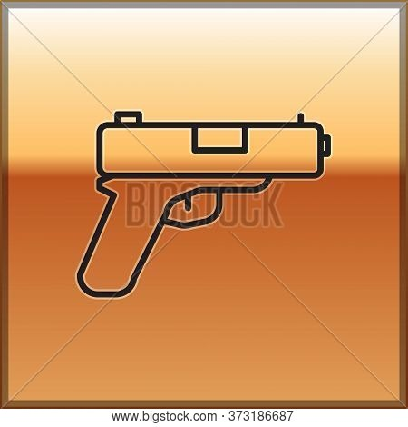 Black Line Pistol Or Gun Icon Isolated On Gold Background. Police Or Military Handgun. Small Firearm
