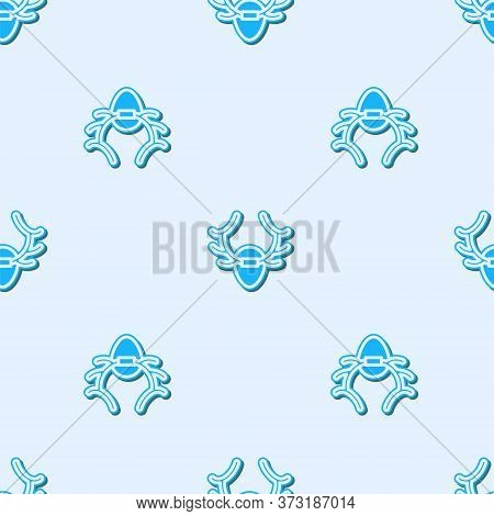 Blue Line Deer Antlers On Shield Icon Isolated Seamless Pattern On Grey Background. Hunting Trophy O