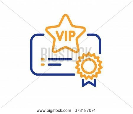 Vip Certificate Line Icon. Very Important Person Document Sign. Member Club Privilege Symbol. Colorf