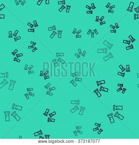 Black Line Cartridges Icon Isolated Seamless Pattern On Green Background. Shotgun Hunting Firearms C