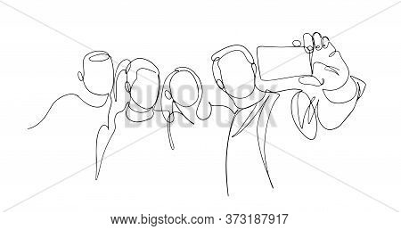 Continuous One Line Drawing Of Group People Selfie. Man And Women Taking A Picture With Smartphone T