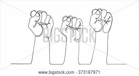 Continuous Line, Drawing Of Raised Fist. Continuous Line Drawing Of Fist Hands. One Hand Drawn Minim