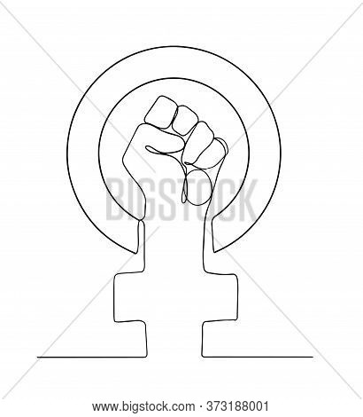 Female Gender Symbol And Raised Fist Feminism One Line Vector Drawing Or Logo Illustration Design. O