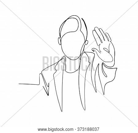 Woman Showing Stop Gesture One Line Vector Drawing. Business Woman Standing Isolated Over Beige Wall