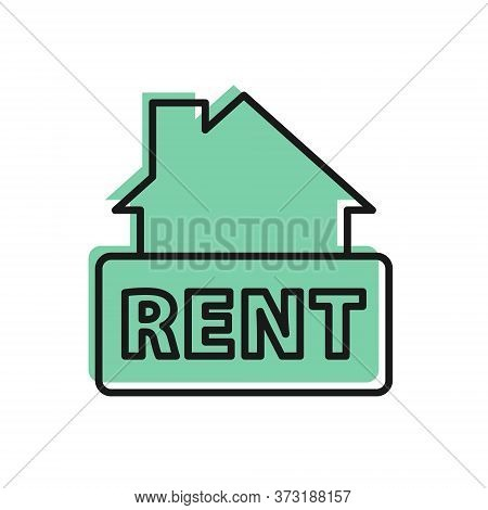 Black Line Hanging Sign With Text Rent Icon Isolated On White Background. Signboard With Text For Re