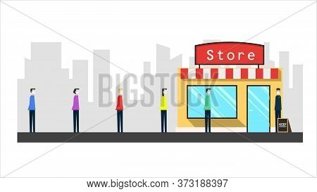 People Standing Line Queue To Shop, Queue To The Store Minimalistic Illustration Social Distancing.