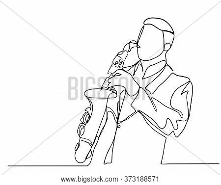 Continuous Line Man Blowing The Trumpet Instrument Jazz Simple Style Hand Drawn Music Style Vector I