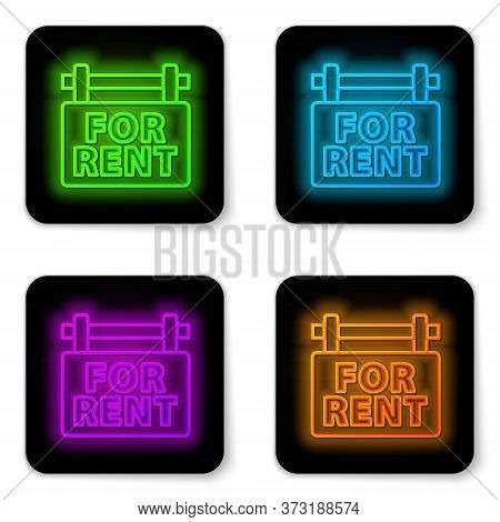 Glowing Neon Line Hanging Sign With Text For Rent Icon Isolated On White Background. Signboard With
