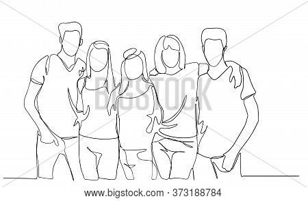 High School Class Of Friends Standing Together And Hugging Line Vector Drawing Illustration, Group O