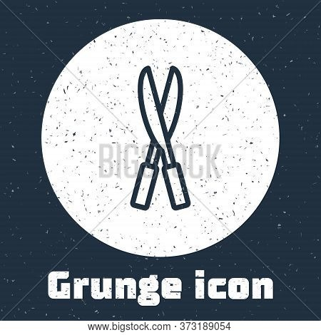 Grunge Line Gardening Handmade Scissors For Trimming Icon Isolated On Grey Background. Pruning Shear