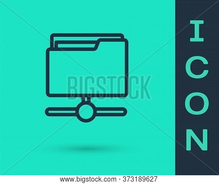 Black Line Ftp Folder Icon Isolated On Green Background. Software Update, Transfer Protocol, Router,