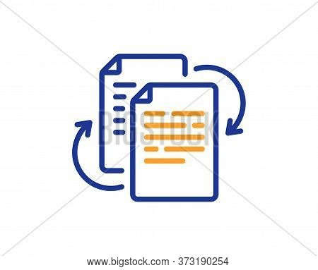 Documents Workflow Line Icon. Doc File Page Sign. Bureaucracy Symbol. Colorful Thin Line Outline Con