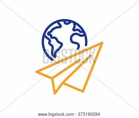 Paper Plane Line Icon. International Flight Sign. Online Travel Symbol. Colorful Thin Line Outline C