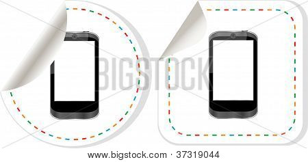 Mobile phone set. Stickers label tag icons set