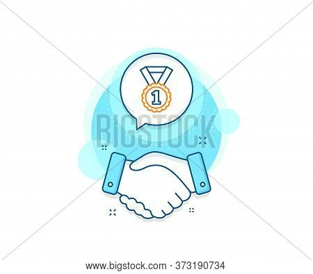 Winner Achievement Or Award Symbol. Handshake Deal Complex Icon. Reward Medal Line Icon. Glory Or Ho