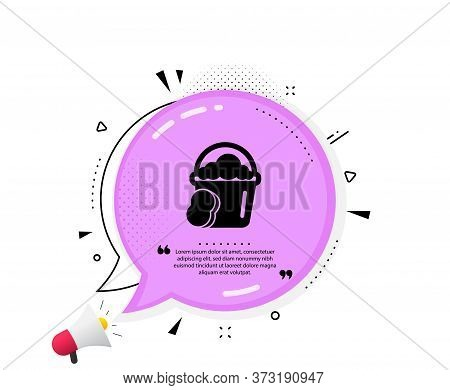 Cleaning Bucket With Sponge Icon. Quote Speech Bubble. Washing Housekeeping Equipment Sign. Quotatio