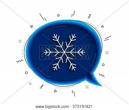 Air Conditioning Line Icon. Chat Bubble With Shadow. Snowflake Sign. Hotel Service Symbol. Thin Line