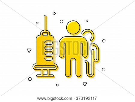 Medicine Vaccine Sign. Medical Vaccination Icon. Pharmacy Medication Symbol. Yellow Circles Pattern.