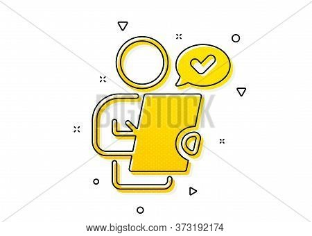 Contract Application Sign. Customer Survey Icon. Agreement Document Symbol. Yellow Circles Pattern.