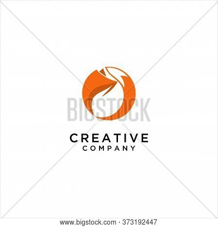 Circle Stand Fox Fire Logo, Range Round Fox Logo Template. Circle Abstract Fox. Animal Illustration