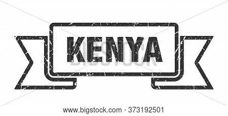 Kenya Ribbon. Black Kenya Grunge Band Sign
