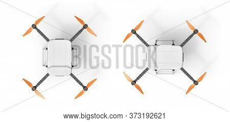 3d Rendering Of Top View Of Quadcopter Isolated On White Background