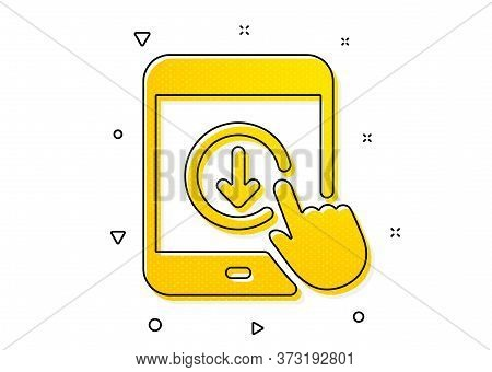 Scrolling Screen Sign. Scroll Down Tablet Pc Icon. Swipe Page. Yellow Circles Pattern. Classic Scrol